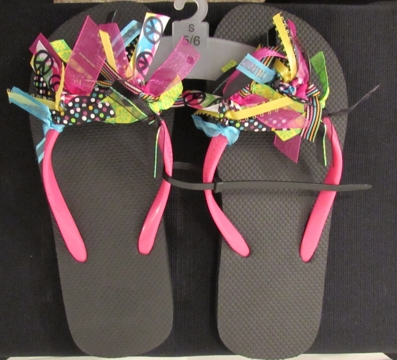 NWT Decorated Flip Flops Multi-Color Size: 5/6