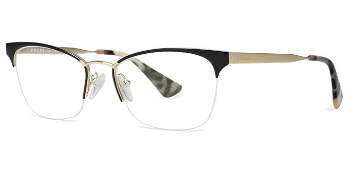 Black And Gold Eyeglass Frames : Authentic Prada PR 65QV QE31O1 Black Gold Semi-Rimless ...