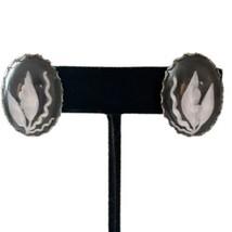Vtg MCM Lucite Intaglio Earrings 3D Floral Retro MCM Screw Back Silver Tone  - $14.99