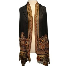 Tapestry Style Scarf, Black, Brown & Gold Tones, Semi Sheer Center Fring... - $15.86
