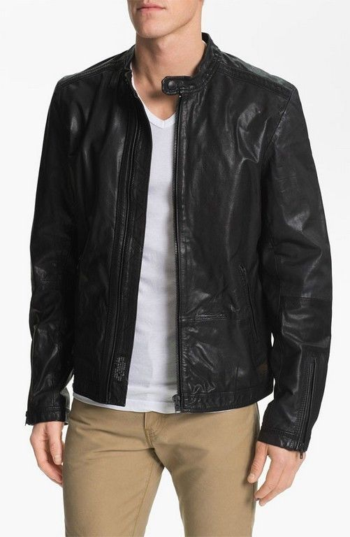 MENS MOTORCYCLE LEATHER JACKET, BLACK LEATHER JACKET MEN'S, LEATHER JACKET MEN for sale  USA
