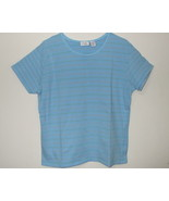 Womens Envision Avenue Blue Stripe Short Sleeve Top XL - $3.95