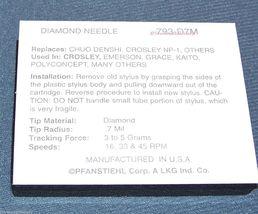 New Diamond Stylus Needle CHUO DENSHI CZ-800 PFANSTIEHL P-188D P-190D SANYO image 3
