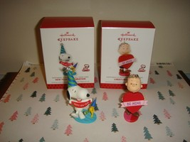 Hallmark 2013- Peanuts New Year's Celebration & Linus's Big Heart Ornaments - $19.99