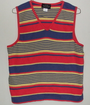Womens Sonoma Jean Co. Stripe Multi Color Sleeveless V Neck Sweater Size XL - $4.95