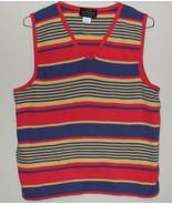 Womens Sonoma Jean Co. Stripe Multi Color Sleeveless V Neck Sweater Size XL - $4.95