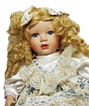 Doll Porcelain Beautiful Golden Hair Elegant Dress Lovely 8+ (3B11*) - $49.99