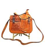 Purse Hand Tooled Floral Leather Handbag Horse Image Saddle Beautiful (1... - $199.99