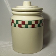 Hartstone Pottery Cookie Jar Checkmates Red and Green Checks Christmas C... - $29.69