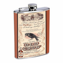 Old Crow Kentucky Whiskey Vintage Ad Flask 8oz 026 - $14.48
