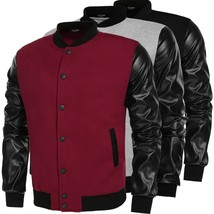 COOFANDY  Men Fashion Casual Long Sleeve Synthetic Leather Patchwork Var... - $39.06