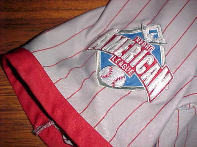 Headgear NLBM 1945 W S Championship Cleveland Buckeyes #38 Grey Red Jersey 2XL image 3