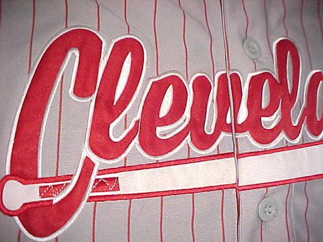 Headgear NLBM 1945 W S Championship Cleveland Buckeyes #38 Grey Red Jersey 2XL image 5