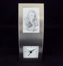 "Aluminum Photo Frame Clock CL-2810 ~ For Desk, Tabletop ~ Holds 2"" x 3"" ... - $19.55"