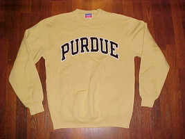 Champion Vintage NCAA Purdue Boilermakers Football Old Gold Embroidered Fleece M - $29.91