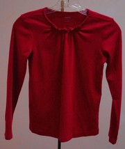 New Gymboree Girls 12 Top Red Smocked Neck Long Sleeve Back to School - $11.75