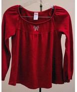 New Gymboree Girls 12 Top Glamour Kitty Red Rhinestone Bow Swing Long Sl... - $11.75