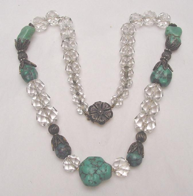 CRYSTAL & TURQUOISE NECKLACE