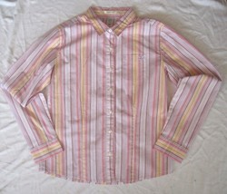 Old Navy Pink Striped Stretch Shirt  Girl's Size 12  Button Front  Long Sleeve - $7.83