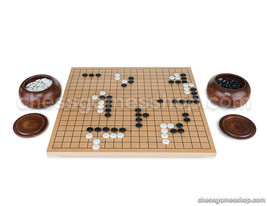 Go tournament set 21 mm - professional go board, stones and 2 bowls - $139.32