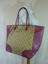 AUTH NWOT GUCCI Beige/Ebony/Dusty Rose Canvas/Leather Bree GG Tote image 2