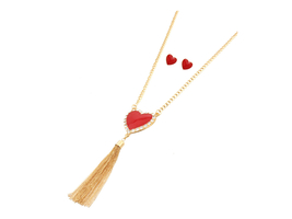 Goldtone Heart Tassel Long Necklace & Earring Set - $14.95