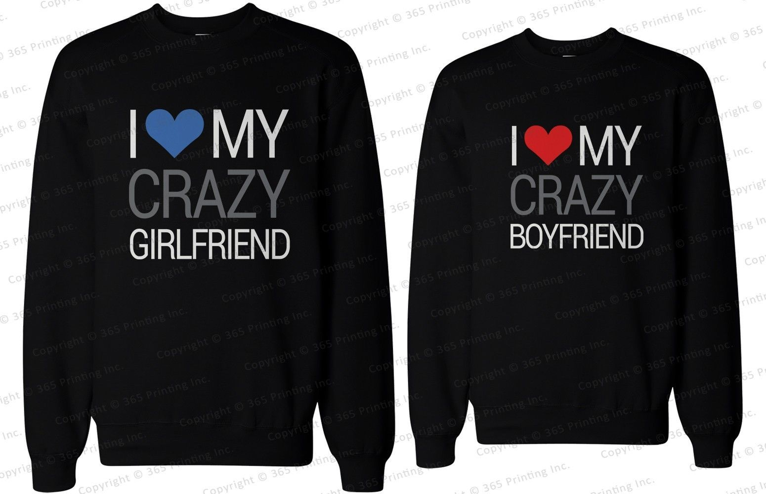 Used, His and Her Matching Couple Sweatshirts - I Love My Crazy Boyfriend & Girlfriend for sale  USA