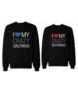 His and Her Matching Couple Sweatshirts - I Love My Crazy Boyfriend & Gi... - $40.99+
