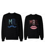 His and Her Matching Couple Sweatshirts - Mr Mustache and Mrs Lips - $40.99+