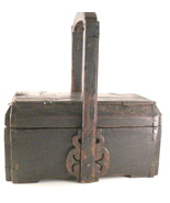 old primitive wooden box with handle and lid - $135.00