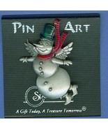 Pewter Angel Snowman Christmas Pin Spoontiques Pin Art Costume Jewelry - $8.99