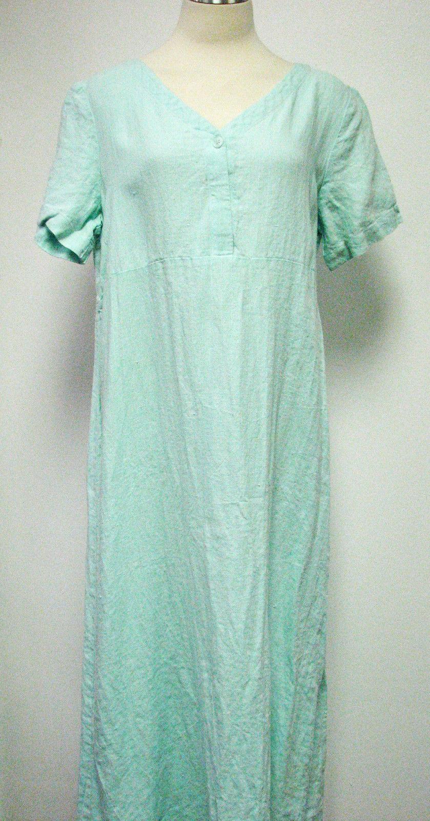 Eileen Fisher Dress S Aqua Blue Linen Blend Short Sleeve