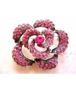 PINK CRYSTAL RHINESTONE ROSE LADIES BROOCH PIN FLOWER - $24.95