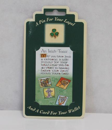 Allied Irish Souvenirs A Toast Wallet Card Green Shamrock Lapel Pin