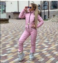 European Women's OnePiece Pink Duck Down Fur Lined Hooded Pink Ski Suit Snowsuit image 3