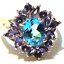 ELECTRIC BLUE TOPAZ OVAL & PURPLE IOLITE MARQUISE RING, SILVER, SIZE 6, ... - $58.50