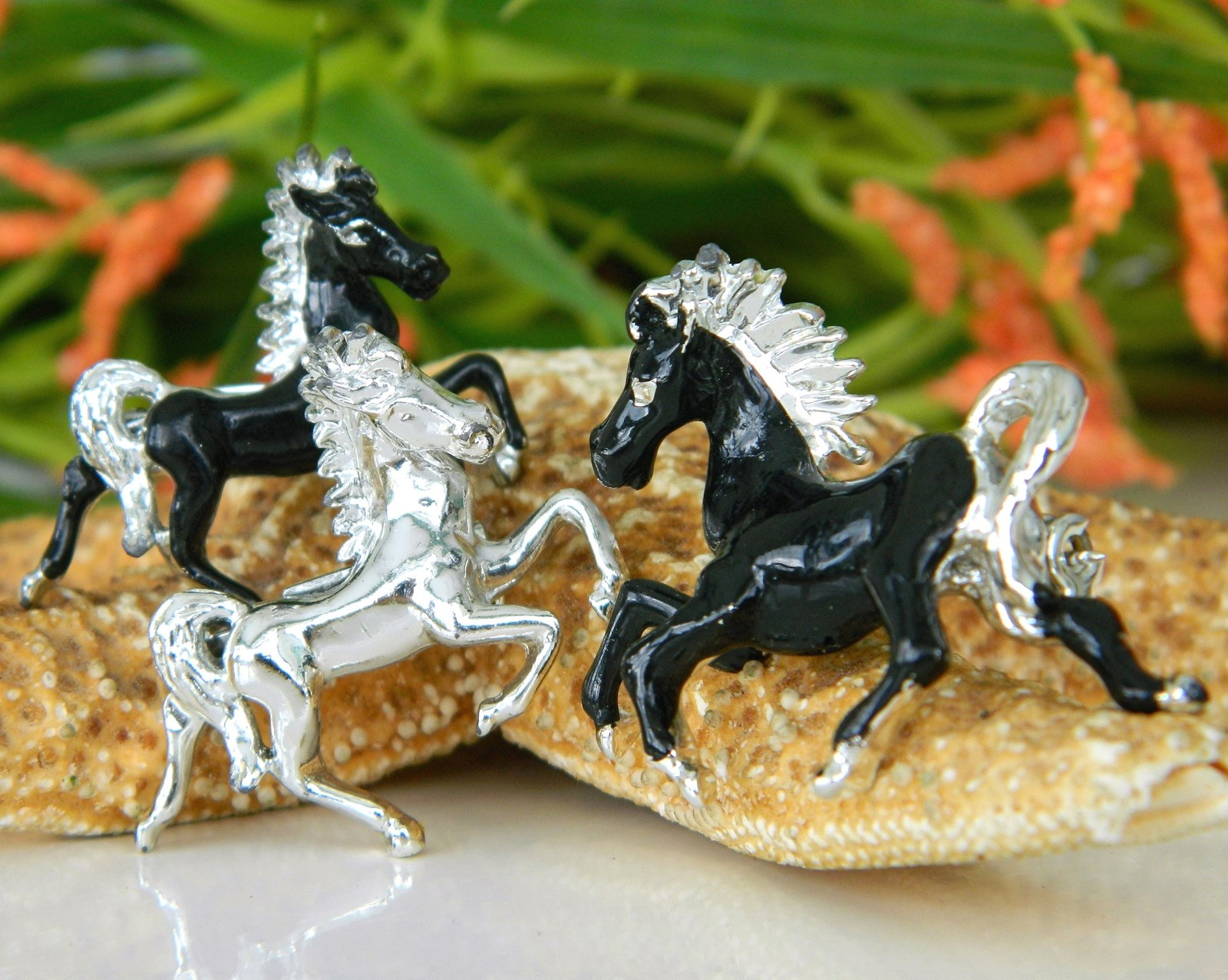 Primary image for 3 Vintage Horse Brooch Scatter Pin Prancing Trotting Black Silver