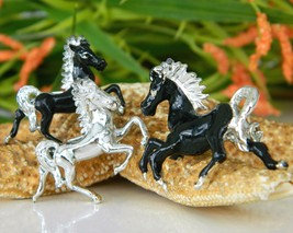 3 vintage horse brooch scatter pin prancing trotting black silver thumb200