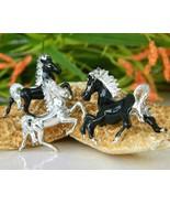 3 Vintage Horse Brooch Scatter Pin Prancing Trotting Black Silver - $19.95