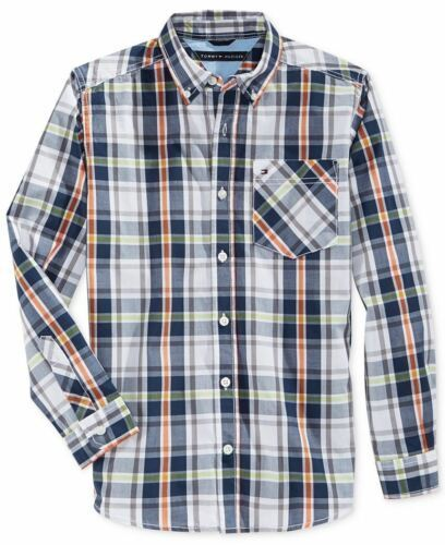 Boy's Size 5 Woven Shirt Tommy Hilfiger Long Sleeve Button-down Navy Blue Check