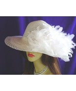 Elegant White Feather Formal Ascot Ladies Church Hat NY - $149.95