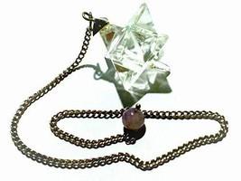 Clear Crystal Quartz Merkaba Star Pendulum Reiki Healing Meditation - $8.99