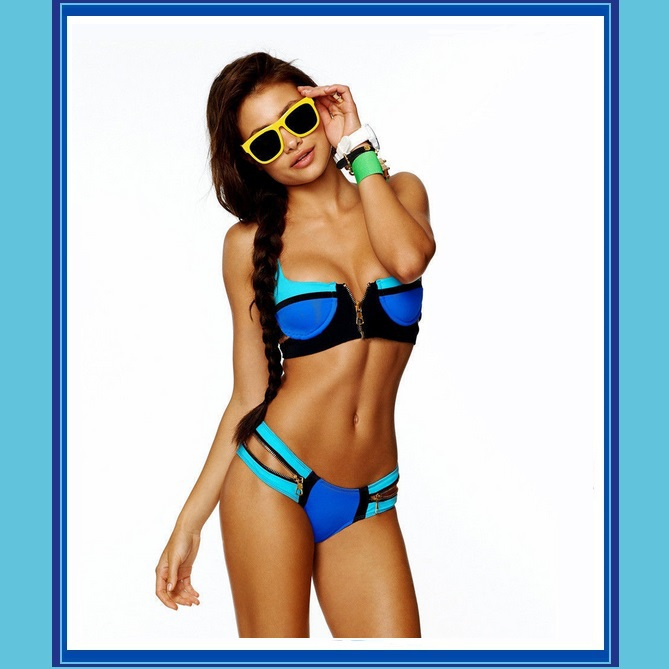 Striped Un-Zip Bandage Style Pushup Bikini Summer Swimsuit Cool Blue Hot Orange
