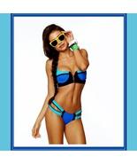 Striped Un-Zip Bandage Style Pushup Bikini Summer Swimsuit Cool Blue Hot... - $42.95