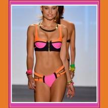 Striped Un-Zip Bandage Style Pushup Bikini Summer Swimsuit Cool Blue Hot Orange image 2