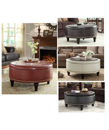 Inspired by Bassett Augusta Wood Legs Eco Leather Round Storage Ottoman - $249.99
