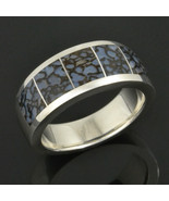 Blue Dinosaur Bone Ring in Sterling Silver - $440.00