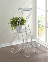 "Curlicue 3 Tier White Iron Plant Stand 29"" - $43.95"