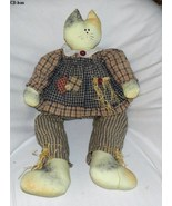 "Cat-face Rag Doll Sitting Stuffed Primitive Style 28"" - $18.99"