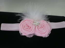 Baby Girl Skinny Pink Headband With Rolled Rose Buds, Marabou & Bling - $11.00
